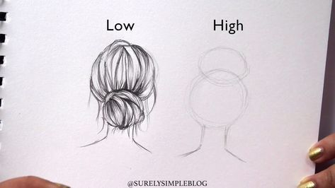 Surelysimple How To Draw High Vs Low Bun Hair Drawing Art Journaling Youtube How To Draw Hair Hair Sketch Hair Illustration