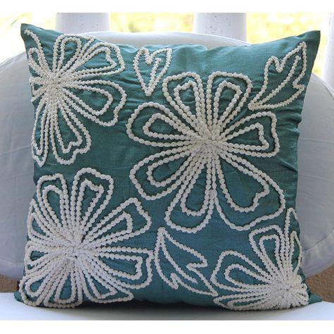 Cuscini Per Divano Blu.Handmade Teal Blue Pillow Covers 16 X16 Silk Throw Pillows Cover