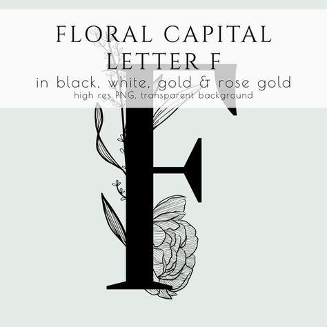 Floral Letter Floral Monogram Floral Initial Commercial Use Rose
