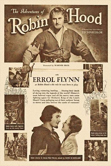 3461.Robin Hood.Errol Flynn movie film POSTER.Home Room School Art decoration