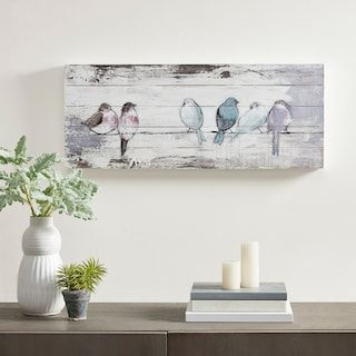 Madison Park Perched Birds Plank Wall Art Kohls In 2020 Wood Plank Art Planked Wall Art Painting On Wood