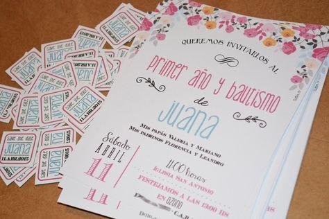 Invitaciones Tarjetas Bautismo Primer Año Cumpleaños 12