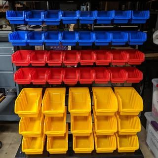 47 bin floor mount parts rack