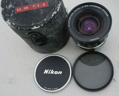 Vintage Nikon Nikkor Ud 20mm F3 5 Non Ai Mount Manual Focus In 2020 Camera Lenses Lenses Pancake Lens