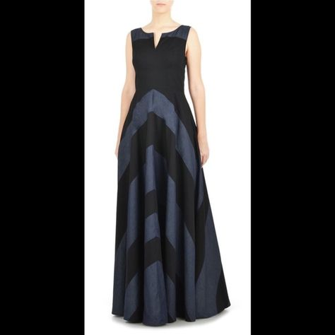 9f6573fe88d7 New Eshakti Chevron Maxi Dress 22W New Eshakti black & chambray chevron  dress w/ elbow length sleeves. Size 22W Measured flat: Underarm to  underarm: 46