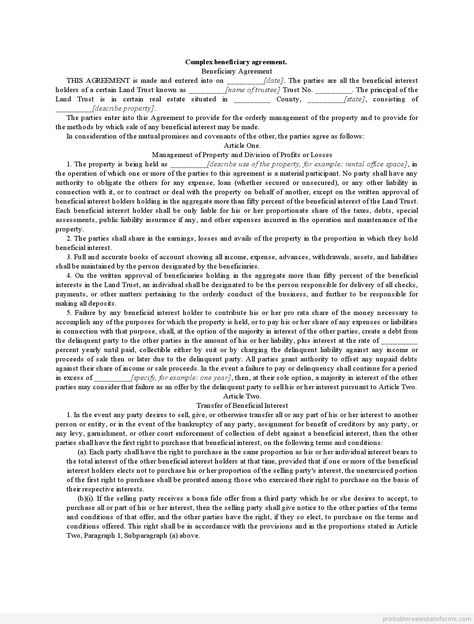 Sample Printable complex beneficiary agreement Form Printable - subcontractor agreement
