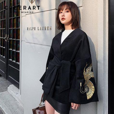 Manteau Femme en Mélange de Laine Cashmere avec Capuche Bordé de Fausse Fourrure Manteau Long Chaud Mode et Neuf