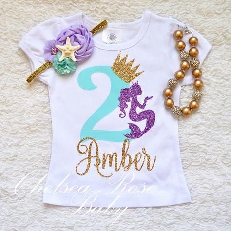 73f443ba Mermaid lavender aqua gold birthday shirt, Birthday shirt, Mermaid shirt, Baby  First Birthday Shirt,