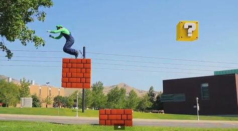 Dying over this video: Real life Mario Bros created by Parkour experts!