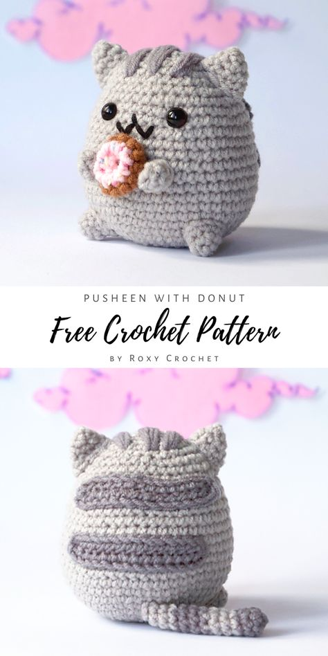An absolutely adorable Pusheen with Donut free amigurumi pattern by Roxy Crochet! Pusheen is a cubby tabby cat form webcomic series. You can crochet your own Pusheen kitty with this gorgeous pattern. Crochet Cat Pattern, Crochet Amigurumi Free Patterns, Crochet Animal Patterns, Stuffed Animal Patterns, Crochet Animals, Crochet Animal Amigurumi, Stitch Patterns, Chat Crochet, Crochet Bunny