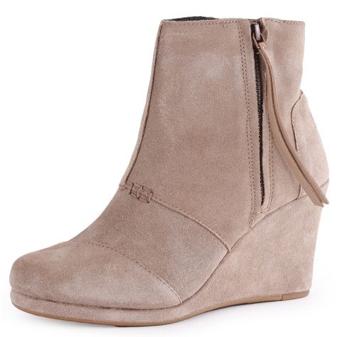 Toms Desert Wedge Highs Womens Suede Wedges Taupe