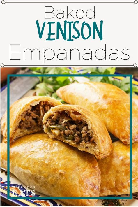 These Venison Empanadas are a savory and spicy way to eat ground venison. Make a double batch and freeze these for later. Elk Meat Recipes, Ground Venison Recipes, Wild Game Recipes, Mexican Food Recipes, Cooking Recipes, Deer Meet Recipes, Deer Meat Recipes Ground, Deer Burger Recipes, Smoker Recipes