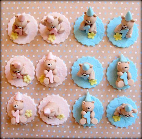 Reserved for Ms. Andrea - Birthday/Baby Shower Cupcake Topper - Handmade Teddy Bear Birthday/Baby Shower Cupcake Topper - 24 pcs via Etsy