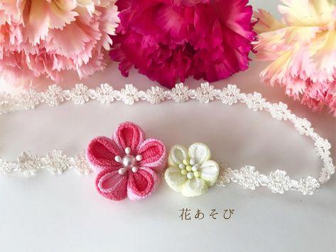 2a7f8d457abb6 ベビーヘアバンド♡お宮参り 桃色のお花 お食い初め