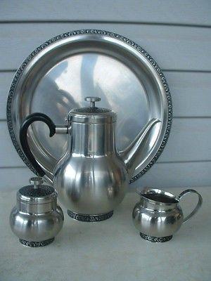 Stainless Vintage Tea Set Vintage Tea Pot Mid Century Oneida Stainless Tea Pot and Sugar Bowl