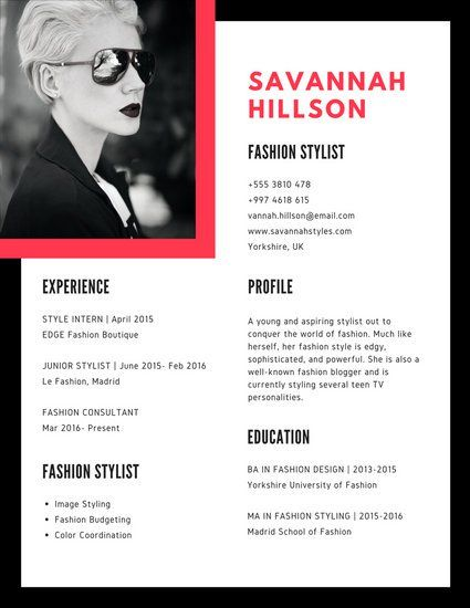 Black Red Geometric Stylist Resume