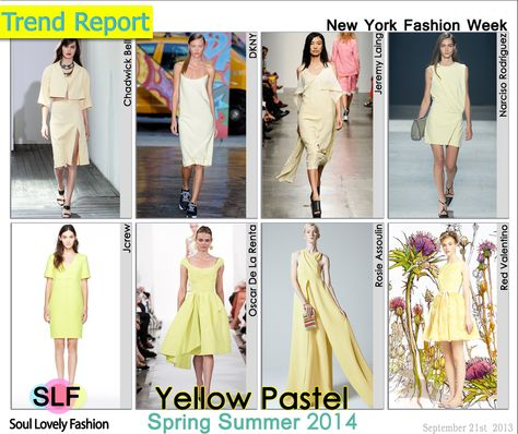 Yellow #Pastel #Colors Fashion #Trend for Spring Summer 2014 at New York #Fashion Week #NYFW #Spring2014 #Color #Trends  #yellow