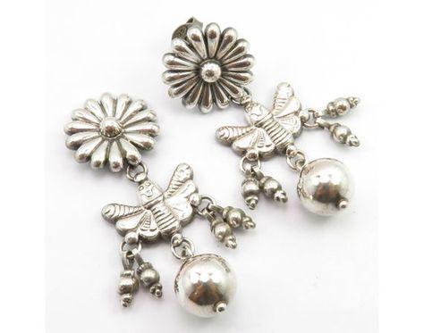 Solid SILVER Oxidized Dangle Earrings 2.4