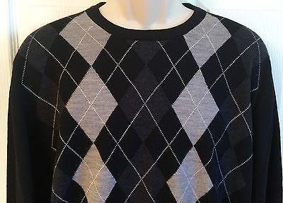 Jos A Bank Signature Size Large Sweater Merino Wool Black Gray Argyle Crew Neck Argyle Sweater Merino Wool Sweater Wool Sweaters