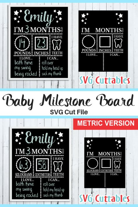 The Baby Milestone Board is perfect for taking monthly pictures of the little one to keep track of the growth! The SVG cut file is deisgned to show your baby's statistics whenever you write in. #ad #svg #baby #babyboy #babygirl #milestone #svgfile #cutfile #printable #nursery