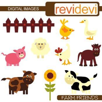 Farm Animals Clip Art Cow Pig Sheep Barnyard Clipart Clipart Revidevi Tpt Teacherspayteachers Digitaldownload Clip Art Cute Clipart Friends Clipart