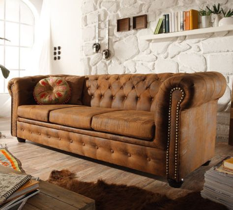3er Sofa Chesteria In Vintage Braun Couch Chesterfield