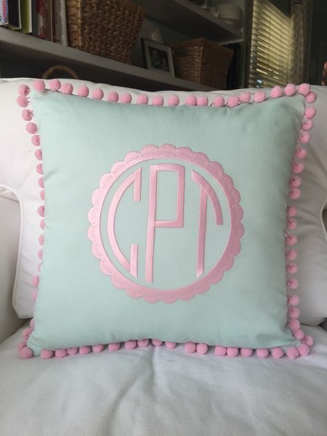 A personal favorite from my Etsy shop https://www.etsy.com/listing/233700207/monogrammed-pique-pom-pom-pillow-cover