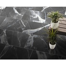 True Porcelain Co Calacatta Black Polished 12 In X 24 In Polished Porcelain Marble Look Floor And Wall Tile Lowes Com Calacatta Floor And Wall Tile Wall Tiles