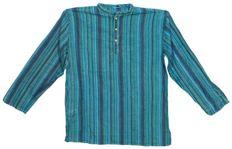 b3279ab395 Gypsy Hippie Mens Kurta Shirt Ethnic Wear Cotton Short Sleeves Stripes Tunic  M #MOGULINTERIOR