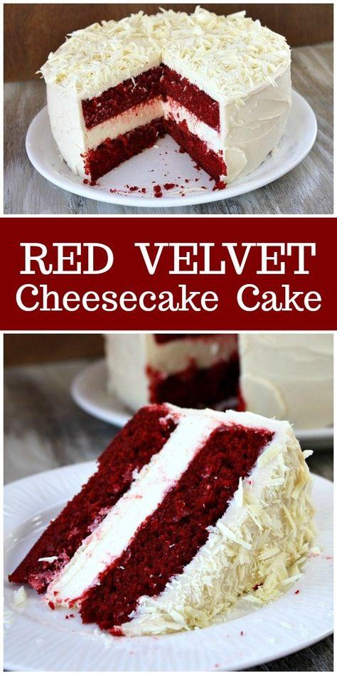 Red Velvet Cheesecake Cake recipe : from RecipeGirl.com. This cake is very similar to Cheesecake Factory's Red Velvet Cheesecake Cake, but it's much, much better! #redvelvet #cheesecake #cake #recipe #RecipeGirl
