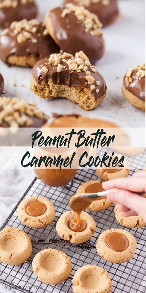 baking recipes These Chocolate Peanut Butter Caramel Cookies start with a peanut butter thumbprint cookie, filled with chewy caramel, then topped with chocolate. You could almost call them snickers cookies. via sugarsaltmagic Peanut Butter Thumbprint Cookies, Peanut Butter Cookie Recipe, Peanut Cookies, Easy Cookie Recipes, Baking Recipes, Dessert Recipes, Dinner Recipes, Cookie Desserts, Baking Ideas