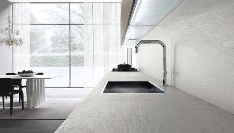 Piano cucina in ardesia bianco con lavabo a vasca unica grande ...