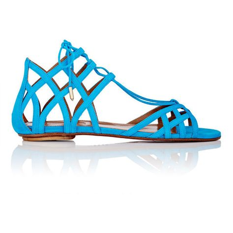 a84a1ffe61e8 Aquazzura Women s Ginger Lace-Up Flat Sandals ( 249) ❤ liked on Polyvore  featuring