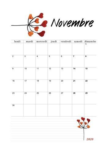Novembre 2020   Floral #calendrier2020 #novembre2020