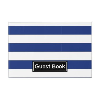 Lucky Point Blue And White Stripes Guest Book  Minimal Gifts