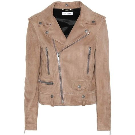 Saint Laurent Suede Moto Jacket (238.750 RUB) ❤ liked on Polyvore featuring outerwear, jackets, beige, moto jacket, beige biker jacket, beige moto jacket, suede jacket and beige suede jacket