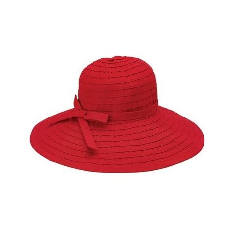 a8c106d9ebd640 Women's San Diego Hat Company Ribbon Large Brim Hat w/ Bow RBL299 (€33) ❤  liked on Polyvore featuring accessories, hats, red, adjustable hats, brim  sun hat ...