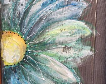 Recycle Old window Screen  flower  Perfect outside porch, you can imagine this colorful happy flowers anywhere in your home!  16X20 inches    I