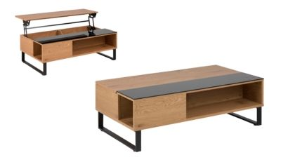 Table Basse Plateau Relevable Azalea Noir Et Imitation Chene But En 2020 Table Basse Plateau Table Basse