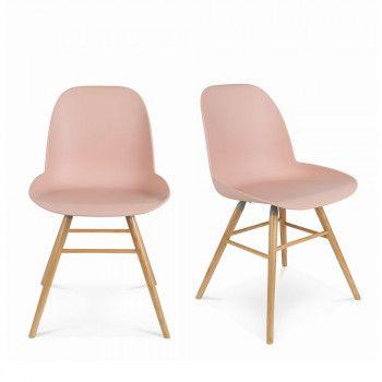 Lot De 2 Chaises Resine Et Bois Albert Kuip Zuiver Fauteuil Bureau Design Chaise Design Chaise
