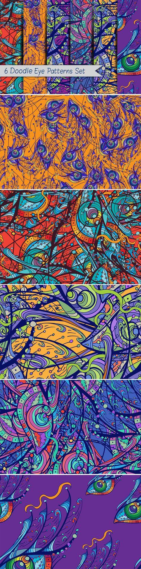 6 Doodle Eye Patterns Set