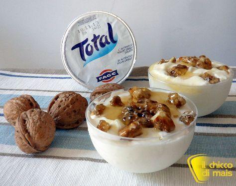 Mousse di yogurt con miele e noci pralinate ricetta dolce il chicco di mais http://blog.giallozafferano.it/ilchiccodimais/mousse-di-yogurt-con-miele-noci-pralinate-ricetta-dolce/