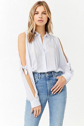 fc4f3199321 Pinstripe Open-Shoulder Shirt