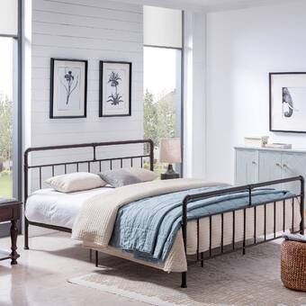 Francis Farmhouse Metal Platform Bed Metal Platform Bed Iron Bed Frame Furniture