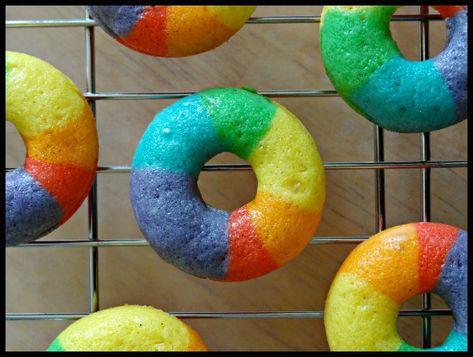 Mini Rainbow Vanilla Bean Doughnuts -- think the world needs more of these!