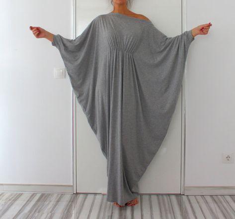 Long Grey Maxi Dress Abaya Dress Cotton por cherryblossomsdress