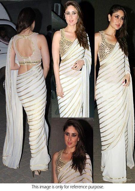 Bollywood Actress Kareena Kapoor Chiffon Saree in White color