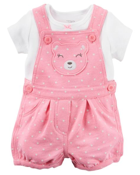 With a bear appliqué and allover polka dot print, these cozy terry shortalls are made to be played in! A sweet satin bow adorns the coordinating…