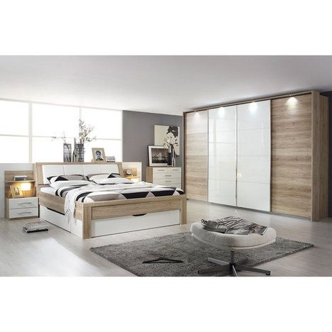 Inspirational Bett K LN San Remo Eiche mit Nachttischen und Staukasten x cm Apartment Inspiration Pinterest