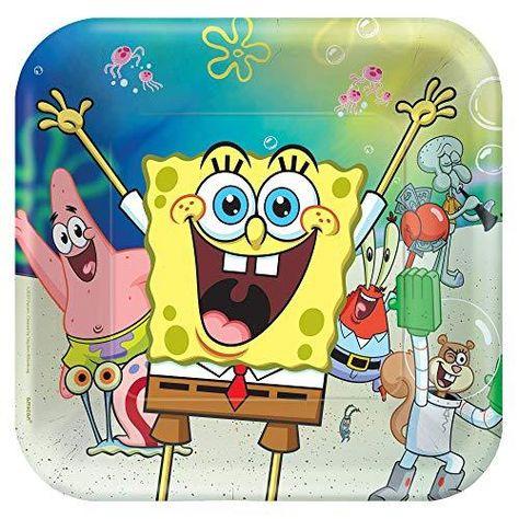 Amscan Sponge Bob Squarepants Birthday Party Tableware Kit Napkins, Plates, Tablecover Bundle, 16 Guests